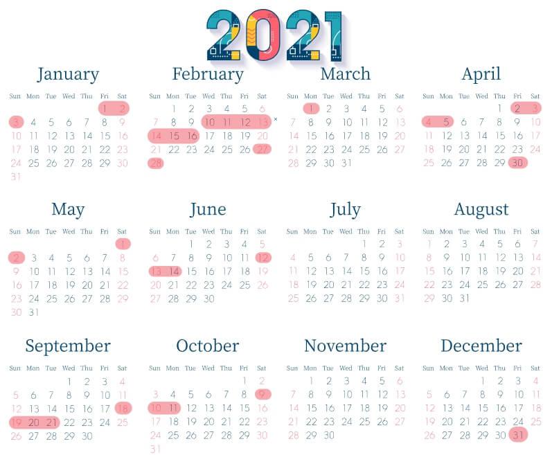 2021日曆