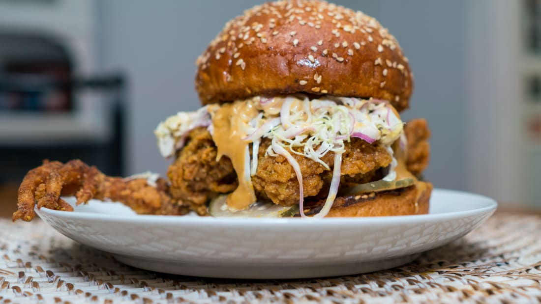 "The fried chicken sandwich with a claw <img src=""https://25hoon.com/wp-content/uploads/2020/05/level-number-26-1-e1588932546704.jpg"">"