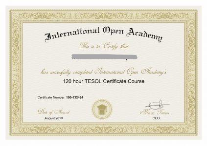 InkedTESOL Certificate
